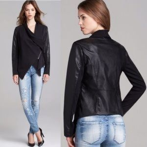 BLANK NYC faux leather jacket assymetrical knit S